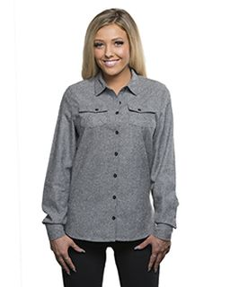 Ladies Solid Flannel Shirt-Burnside