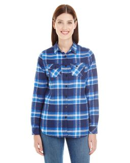 Ladies Plaid Boyfriend Flannel Shirt-