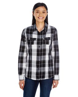 Ladies Long-Sleeve Plaid Pattern Woven Shirt-