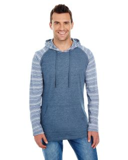 Adult Raglan Sleeve Striped Jersey Hooded T-Shirt-