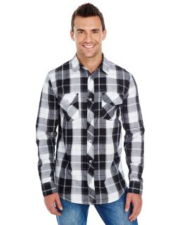 Mens Long-Sleeve Plaid Pattern Woven Shirt-