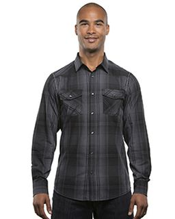 Mens Long-Sleeve Western Plaid Shirt-Burnside