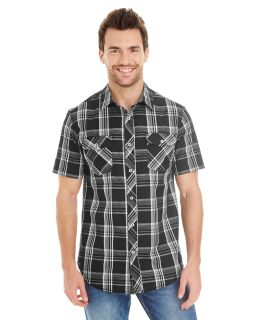 Mens Short-Sleeve Plaid Pattern Woven Shirt-