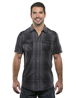 Mens Plaid Pattern Western Woven-