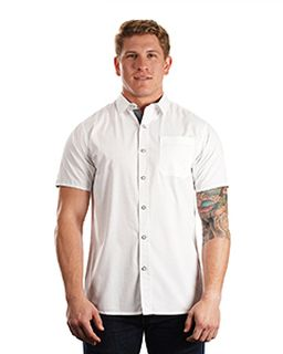 Mens Peached Poplin Short Sleeve Woven Shirt-