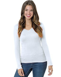 Juniors 4.2 Oz., Fine Jersey Long-Sleeve V-Neck T-Shirt-Bayside