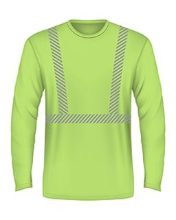 5.4 Oz., 50/50 Hi-Visibility Segmanted Striping Long-Sleeve T-Shirt-Bayside