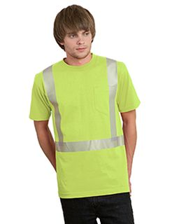 5.4 Oz., 50/50 Hi-Visibility Segmanted Striping Pocket T-Shirt-Bayside