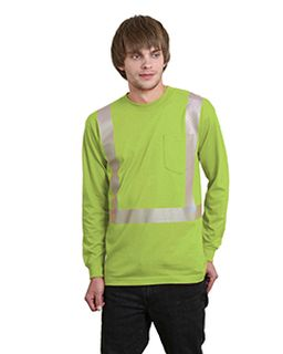 5.4 Oz., 50/50 Hi-Visibility Segmanted Striping Long-Sleeve Pocket T-Shirt-Bayside