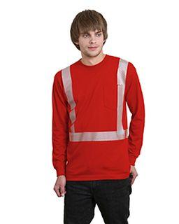 6.1 Oz., 100% Cotton Hi-Visibility Segmanted Striping Long-Sleeve Pocket T-Shirt-Bayside