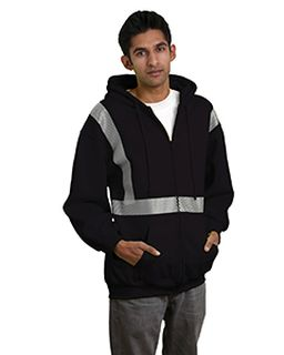 9.5 Oz., 80/20 Hi-Visibility Segmented Striping Full-Zip Hooded Sweatshirt-Bayside