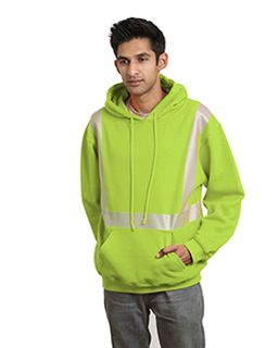 9.5 Oz., 80/20 Hi-Visibility Segmented Striping Pullover Hooded Sweatshirt-Bayside