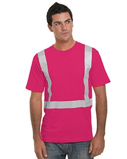 Hi-Visibility 100% Cotton Crew Solid Striping T-Shirt-