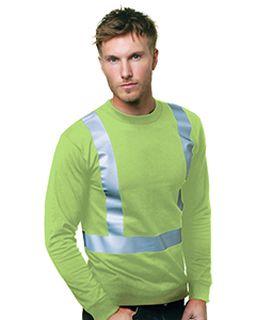 6.1 Oz., 100% Cotton Hi-Visibility Solid Striping Long Sleeve T-Shirt-