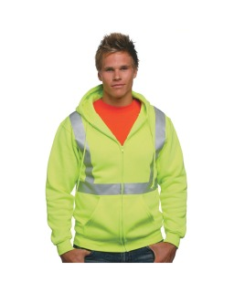 80/20 Heavyweight Hi-Visibility Solid Striping Full-Zip Hooded Sweatshirt-Bayside