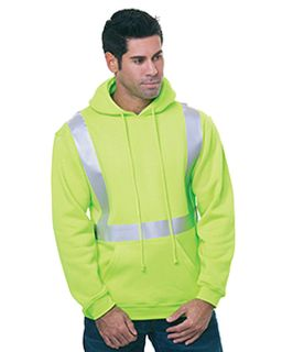 80/20 Heavywieght Hi-Visibility Solid Striping Pullover Hooded Sweatshirt-Bayside