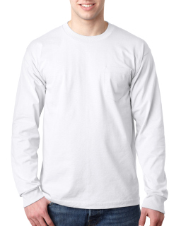 Adult 6.1 Oz., 100% Cotton Long Sleeve Pocket T-Shirt-