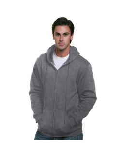 Adult 9.5oz., 80% Cotton/20% Polyester Full-Zip Hooded Sweatshirt-Bayside
