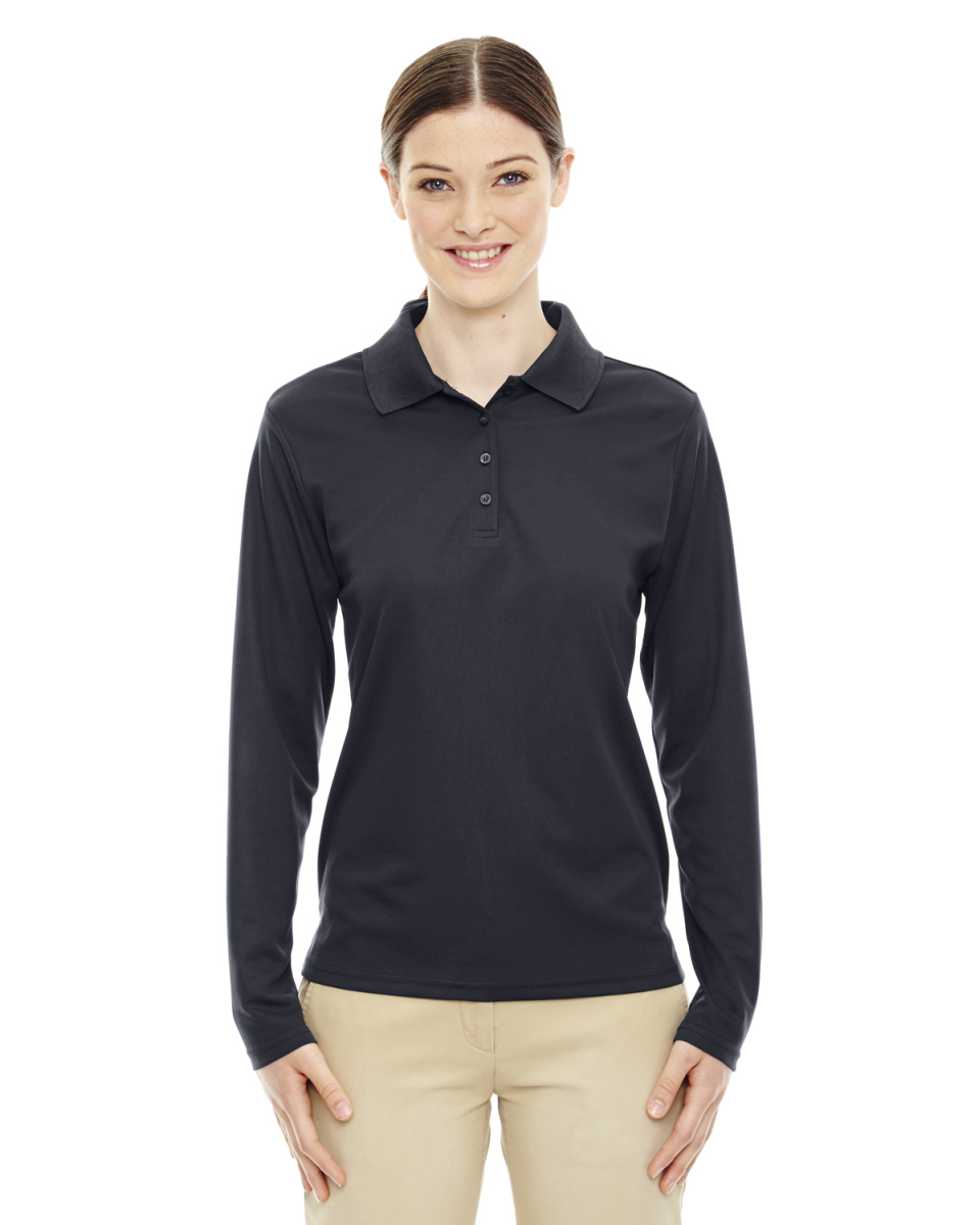 Ladies Pinnacle Performance Long-Sleeve Pique Polo-Ash City - Core 365