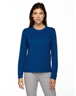 Ladies Agility Performance Long-Sleeve Pique Crewneck-Ash City - Core 365