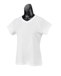 Ladies 4.1 Oz. Double Dry® V-Neck T-Shirt
