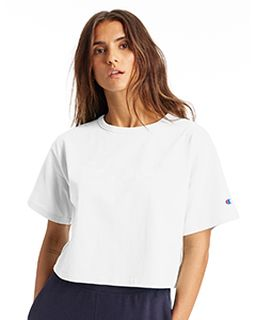 Ladies Cropped Reverse Weave T-Shirt-