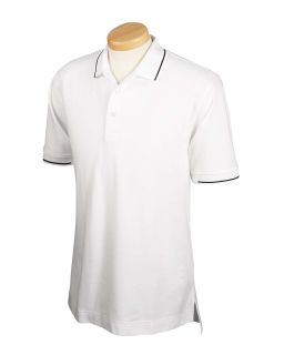 Mens Pima Pique Short-Sleeve Tipped Polo-