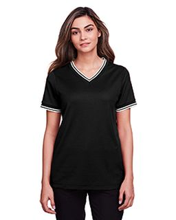 Ladies Crownlux Performance™ Plaited Tipped V-Neck Polo-