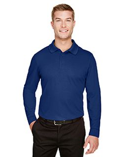 Crownlux Performance� Mens Plaited Long Sleeve Polo-Devon & Jones