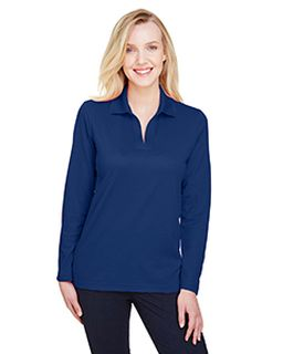 Crownlux Performance� Ladies Plaited Long Sleeve Polo-Devon & Jones