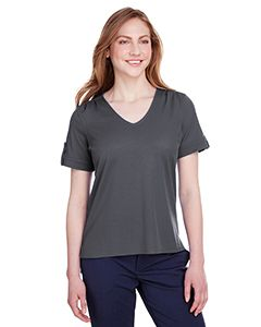 Ladies Crownlux Performance™ Plaited Rolled-Sleeve Top-