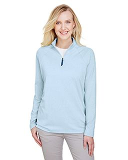 Crownlux Performance� Ladies Clubhouse Micro-Stripe Quarter-Zip-Devon & Jones