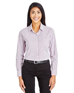 Crownlux Performance™ Ladies Micro Windowpane Shirt-Devon & Jones