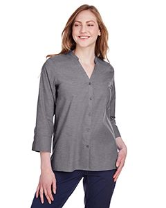 Ladies Crown Collection® Stretch Pinpoint Chambray 3/4 Sleeve Blouse-