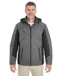 Mens Midtown Insulated Fabric-Block Jacket With Crosshatch Melange-Devon & Jones