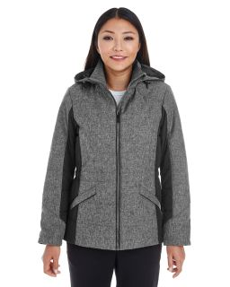 Ladies Midtown Insulated Fabric-Block Jacket With Crosshatch Melange-Devon & Jones