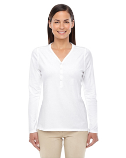 Ladies Perfect Fit™ Y-Placket Convertible Sleeve Knit Top-