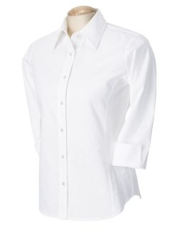 Ladies Perfect Fit™<long> 3/4-Sleeve Stretch Poplin Blouse