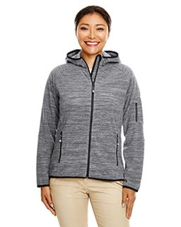 Ladies Perfect Fit™ Melange Velvet Fleece Hooded Full-Zip-Devon & Jones
