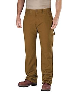 Mens Relaxed Straight-Fit Flannel-Lined Carpenter Duck Jean Pant-