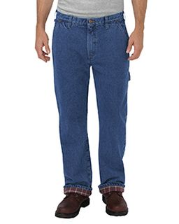 Mens Relaxed Fit Straight-Leg Flannel-Lined Carpenter Denim Pant-