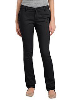 Ladies Juniors Schoolwear Classic Fit Straight-Leg Twill Stretch Pant-