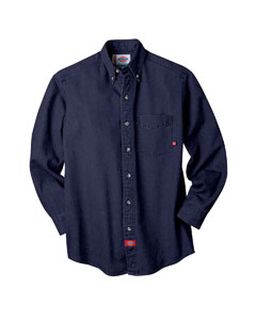 Unisex Long-Sleeve Button-Down Denim Shirt-