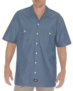 Unisex Relaxed Fit Short-Sleeve Chambray Shirt-