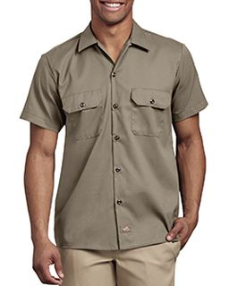 Mens Short Sleeve Slim Fit Flex Twill Work Shirt-