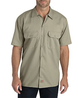 Mens Flex Relaxed Fit Short-Sleeve Twill Work Shirt-