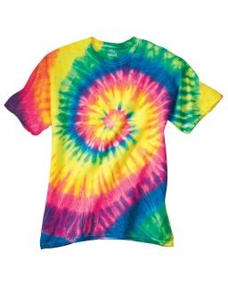 Adult Neon Spiral Rainbow Pigment-Dyed Tee-Dyenomite