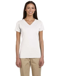 Ladies 100% Organic Cotton Short-Sleeve V-Neck T-Shirt-