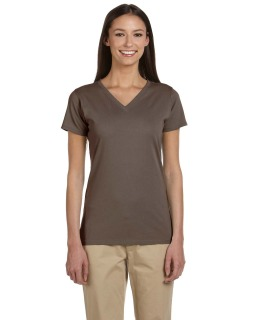 Ladies 4.4 Oz., 100% Organic Cotton Short-Sleeve V-Neck T-Shirt-