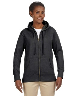 Ladies 7 Oz. Organic/Recycled Heathered Fleece Full-Zip Hood